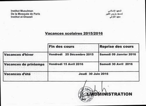 Vacances scolaires 2015-2016